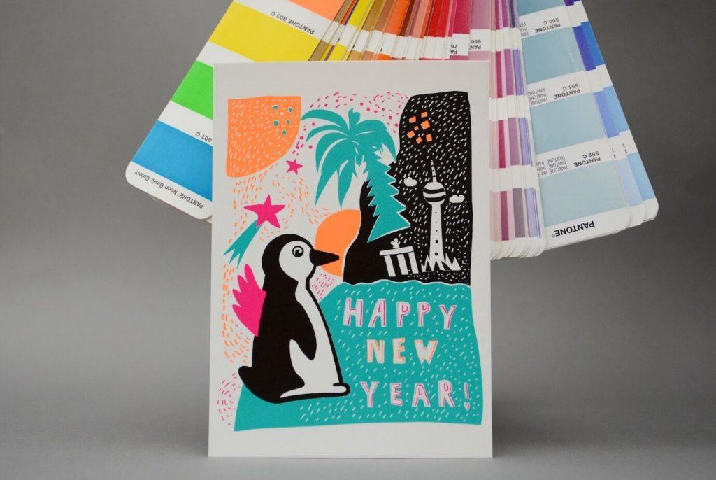 Postkarte mit Neon-Farben