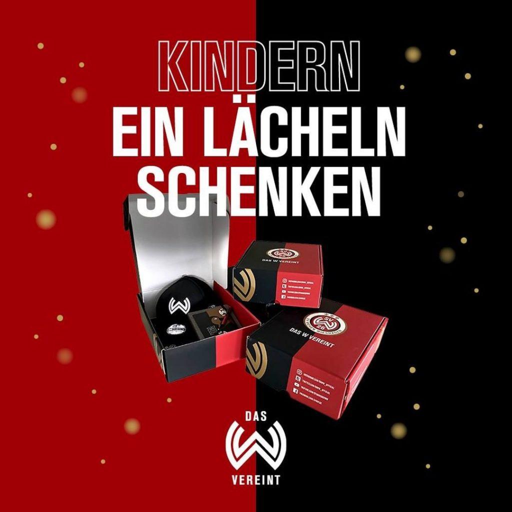 Geschenkbox für Aktion 'Kindern ein Lächeln schenken' des SV Wehen Wiesbaden